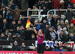 27 December 2017 Newcastle: Premier League Football - Newcastle United v Manchester City : Newcastle supporters react angrily to an offside decision given by a linesman.<br /> (photo by Mark Leech)