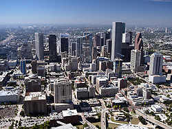 Aerial view of Houston, Texas featuring the downtown skyline.