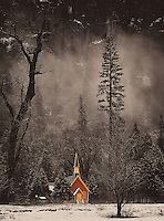 Red Chapel in the Mist. Winter in Yosemite National Park, California. Image taken with a Nikon D3s and 70-200 mm VR lens (ISO 200, 105 mm, f/8, 1/50 sec). Raw image processed with Capture One Pro 7.