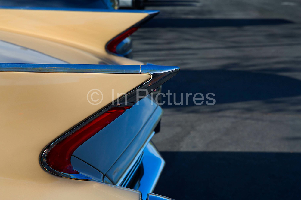 Rear fins of a 1960 Cadillac Series 62 convertible in Palm Springs California.