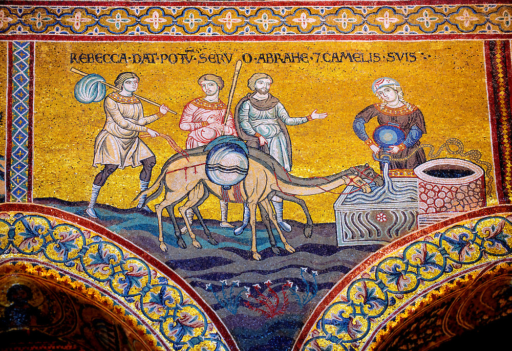 Byzantine mosaics in the Cathedral of Monreale - Rebecca waters Abrahams camels - Palermo - Sicily Pictures, photos, images & fotos photography .<br /> <br /> If you prefer you can also buy from our ALAMY PHOTO LIBRARY  Collection visit : https://www.alamy.com/portfolio/paul-williams-funkystock/monrealeduomomosaics.html. Refine search by adding subject etc  into the LOWER SEARCH WITHIN GALLERY box. <br /> <br /> Visit our BYZANTINE MOSAIC PHOTO COLLECTION for more   photos  to download or buy as prints https://funkystock.photoshelter.com/gallery-collection/Roman-Byzantine-Art-Artefacts-Antiquities-Historic-Sites-Pictures-Images-of/C0000lW_87AclrOk