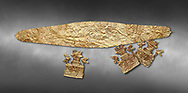 Mycenaean Gold diadems and cut outs from Grave IV, Grave Circle A, Myenae, Greece. National Archaeological Museum Athens. 16th Cent BC. Grey art Background <br /> <br /> Top: Mycenaean Gold diadem with repousse circles and rosettes Cat No 234<br /> <br /> Bottom . Gold cut outs depicting tripartite shrines crowned with horns of consecration and birds. Cat No 242-244 .<br /> <br /> If you prefer to buy from our ALAMY PHOTO LIBRARY  Collection visit : https://www.alamy.com/portfolio/paul-williams-funkystock/mycenaean-art-artefacts.html . Type -   Athens    - into the LOWER SEARCH WITHIN GALLERY box. Refine search by adding background colour, place, museum etc<br /> <br /> Visit our MYCENAEN ART PHOTO COLLECTIONS for more photos to download  as wall art prints https://funkystock.photoshelter.com/gallery-collection/Pictures-Images-of-Ancient-Mycenaean-Art-Artefacts-Archaeology-Sites/C0000xRC5WLQcbhQ