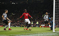 Paul Pogba of Manchester United ManU scores the third goal past Robert Elliot of Newcastle United during the premier league match at Old Trafford Stadium, Manchester. Picture date 18th November 2017.<br /> PUBLICATIONxNOTxINxUK