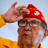 081413        Brian Leddy<br /> Navajo Code Talker David E. Patterson salutes during the national anthem Wednesday in Window Rock. The annual Navajo Code Talkers Day event drew hundreds to honor the military veterans that helped win World War II.