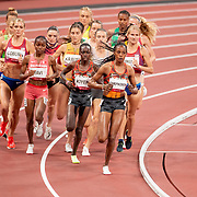 TOKYO, JAPAN August 4: Gold medal winner Peruth Chemutai of Uganda takes an early lead during the 3000m Steeplechase for women closely followed by bronze medal winner Hyvin Kiyeng of Kenya during the Track and Field competition at the Olympic Stadium at the Tokyo 2020 Summer Olympic Games on August 4th, 2021 in Tokyo, Japan. (Photo by Tim Clayton/Corbis via Getty Images)