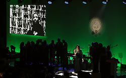 A choir sings in tribute to Cyrille Regis during the 2018 PFA Awards at the Grosvenor House Hotel, London. PRESS ASSOCIATION Photo. Picture date: Sunday April 22, 2018. See PA story SOCCER PFA. Photo credit should read: John Walton/PA Wire