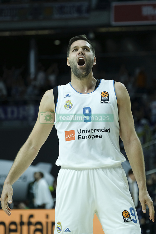 April 27, 2018 - Madrid, Spain - FELIPE REYES of Real Madrid during the 2017/2018 Turkish Airlines Euroleague Play Off Leg Four between Real Madrid v Panathinaikos Superfoods Athens at WiZink Center on April 27, 2018 in Madrid, Spain Photo: Oscar Gonzalez/NurPhoto  (Credit Image: © Oscar Gonzalez/NurPhoto via ZUMA Press)