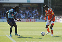 Blackpool's Nathan Delfouneso under pressure from Wycombe Wanderers' Anthony Stewart<br /> <br /> Photographer Kevin Barnes/CameraSport<br /> <br /> The EFL Sky Bet League One - Wycombe Wanderers v Blackpool - Saturday 4th August 2018 - Adams Park - Wycombe<br /> <br /> World Copyright © 2018 CameraSport. All rights reserved. 43 Linden Ave. Countesthorpe. Leicester. England. LE8 5PG - Tel: +44 (0) 116 277 4147 - admin@camerasport.com - www.camerasport.com