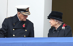 The Queen joined the duke of Edinburgh on the balcony of the foreign office for the first time to observe the remembrance service <br /><br />12 November 2017.<br /><br />Please byline: Vantagenews.com