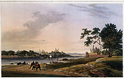 Lucknow, taken from the opposite bank of the river Goomty, 1801 From the book ' Oriental scenery: one hundred and fifty views of the architecture, antiquities and landscape scenery of Hindoostan ' by Thomas Daniell, and William Daniell, Published in London by the Authors May 1, 1813