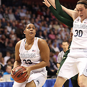 Kaleena Mosqueda-Lewis prepares to shoot as team mate Breanna Stewart, UConn, provides protection during the UConn Huskies Vs USF Bulls Basketball Final game at the American Athletic Conference Women's College Basketball Championships 2015 at Mohegan Sun Arena, Uncasville, Connecticut, USA. 9th March 2015. Photo Tim Clayton