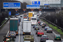 © Licensed to London News Pictures. 21/02/2017. London, UK. long queues of traffic backed up on the M4 eastbound, next to the turnoff for Heathrow airport, caused by a Climate protestors blocking a tunnel leading to Heathrow Airport in West London. Photo credit: Ben Cawthra/LNP
