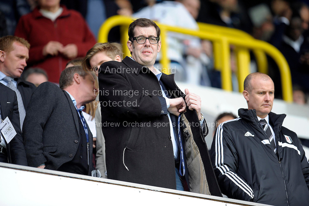 'Pointless' TV Quiz Master Richard Osman attending today's Barclays premier league match ,Tottenham Hotspur v Fulham at White Hart Lane in Tottenham, London  on Saturday 19th April 2014.<br /> pic by John Patrick Fletcher, Andrew Orchard sports photography.