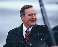 Anchorage, Alaska 1989/02/22 President H.W. Bush as he arrives during a fueling stop.<br />Photo by Dennis Brack