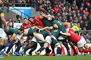 Luke Charteris of Wales and Eben Etzebeth of South Africa battle in  the scrum. Both sides in the scrum. Rugby World Cup 2015 quarter final match, South Africa v Wales at Twickenham Stadium in London, England  on Saturday 17th October 2015.<br /> pic by  John Patrick Fletcher, Andrew Orchard sports photography.