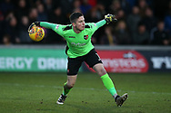 Christy Pym, the Exeter city goalkeeper in action. EFL Skybet football league two match, Newport county v Exeter City  at Rodney Parade in Newport, South Wales on New Years Day, Monday 1st January 2018.<br /> pic by Andrew Orchard,  Andrew Orchard sports photography.