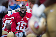 San Francisco 49ers wide receiver DeAndrew White (18) watches from the sideline during a preseason game against the Houston Texans at Levi's Stadium in Santa Clara, Calif., on August 14, 2016. (Stan Olszewski/Special to S.F. Examiner)