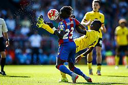 Idrissa Gueye of Aston Villa high kick, a near miss for Pape N'Diaye Souare of Crystal Palace - Mandatory byline: Jason Brown/JMP - 07966386802 - 22/08/2015 - FOOTBALL - London - Selhurst Park - Crystal Palace v Aston Villa - Barclays Premier League