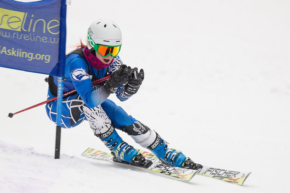 Paige Whistler of Colby College, skis during the second run of the women's giant slalom at Jiminy Peak on February 15, 2014 in Hancock, MA. (Dustin Satloff/EISA)