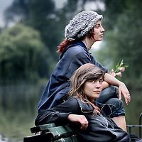 Nederland, Amsterdam , 3 augustus 2011..Krakers Zoe (vooraan) en Merel..Beide hebben een paar weken vastgezeten....Foto:Jean-Pierre Jans