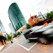 Traffic motion on Main Street at 14th, downtown Kansas City, Missouri.