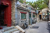 Beijing , China - September 24, 2014:  Chinese traditional Yindingqiao Hutong streets Beijing Chin