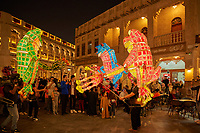 Doha ,Qatar -December 26 , 2019 : people tourist and attractions in Souq Waqif main touristic attraction