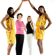 LOS ANGELES, CA, May 1, 2008:  Los Angeles Sparks stars Lisa Leslie, right, and Candace Parker flank team owners Carla Christofferson, second from right,  and Kathy Goodman.