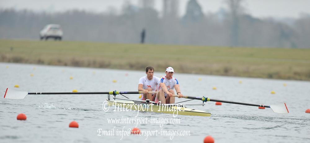 Eton, United Kingdom  GBR M2- Bow.Tom RITCHIE and Tom BROADWAY, at the start of their heat of the men's pair at the 2012 GB Rowing Senior Trials, Dorney Lake. Nr Windsor, Berks.  Saturday  10/03/2012  [Mandatory Credit; Peter Spurrier/Intersport-images]