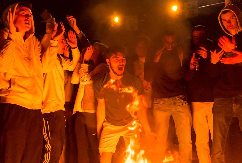 Villanova University students celebrate on their campus as Villanova win the NCAA National Basketball Championship. Villanova, Pennsylvania. April 2, 2018. <br /> <br /> Jack Megaw. All Rights Reserved.