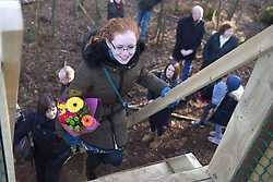© Licensed to London News Pictures. 30/01/2016. Slough, UK.  Vikki Looney at the formal opening of a wooden treehouse in memory of murder victim Alice Adams in Black Park, Wexham on Saturday 30th January. The 20-year-old was stabbed to death in August 2011 with her friend and co-worker Tibor Vass, at a staff flat behind the Radisson Edwardian Hotel near Heathrow Airport. The murderer was Attila Ban, aged 32,  who also worked at the hotel as a receptionist. After the death of Alice, her family created a charity called, Alice Adams Foundation, to raise money to build the treehouse. Photo credit should read: Emma Sheppard/LNP