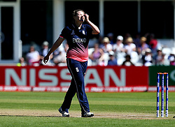 Anya Shrubsole of England Women looks frustrated after Danielle Hazell of England Women drops a catch off her bowling - Mandatory by-line: Robbie Stephenson/JMP - 02/07/2017 - CRICKET - County Ground - Taunton, United Kingdom - England Women v Sri Lanka Women - ICC Women's World Cup Group Stage