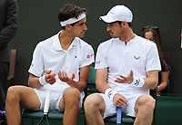 Tennis - 2019 Wimbledon Championships - Week One, Saturday (Day Six)<br /> <br /> Mens Doubles, 2nd Round : Pierre - Hughes Herbert (FRA) and Andy Murray (GBR) v Nikola Mektic (CRO) and Franko Skugor (CRO)<br /> <br /> Pierre - Hughes Herbert (FRA) and Andy Murray talk tactics on  Court 2<br /> <br /> COLORSPORT/ANDREW COWIE