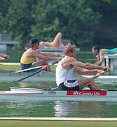 Lucerne, Switzerland. 1995 FISA WC III, Lake Rotsee, Lucerne,<br /> GBR M2- Bow. Steve REDGRAVE.<br /> [Mandatory Credit. Peter SPURRIER/Intersport Images]<br /> <br /> Image scanned from Colour Negative