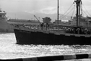 With her cargo of 600 tonnes of foodstuff, drugs and blankets for famine ridden Biafra, the Irish mercy ship Columcille sails out of Dublin, with Captain P. O'Saeghdha in command and a crew of 12, among which is a seaman priest, Rev. Fr. Joseph Fitzgibbon, the Limerick born Holy Ghost Father, who has volunteered as third engineer on the vessel.<br /> The ship sails out of Dublin Port.<br /> 06.09.1968