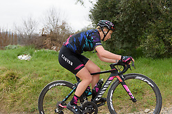Pauline Ferrand Prevot climbs the penultimate gravel sector at Strade Bianche - Elite Women. A 127 km road race on March 4th 2017, starting and finishing in Siena, Italy. (Photo by Sean Robinson/Velofocus)