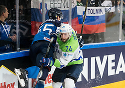 Atte Ohtamaa of Finland vs Rok Ticar of Slovenia during the 2017 IIHF Men's World Championship group B Ice hockey match between National Teams of Finland and Slovenia, on May 10, 2017 in AccorHotels Arena in Paris, France. Photo by Vid Ponikvar / Sportida