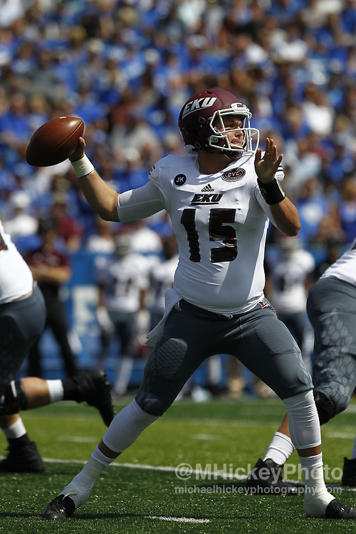 LEXINGTON, KY - SEPTEMBER 09: Austin Scott #15 of the Eastern Kentucky Colonels throws the ball against the Kentucky Wildcats at Kroger Field on September 9, 2017 in Lexington, Kentucky. (Photo by Michael Hickey/Getty Images) *** Local Caption *** Austin Scott