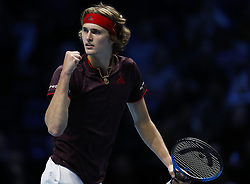 2017?11?12?.    ?????1???——ATP???????????????.       11?12???????????.       ???????????ATP????????????????????????????2?1????????????.       ????????.(SP) BRITAIN-LONDON-TENNIS-ATP FINALS-CILIC VS ZVEREV.(171112) -- LONDON, Nov. 12, 2017  Alexander Zverev of Germany competes during the singles group match against Marin Cilic of Croatia during the Nitto ATP World Tour Finals at O2 Arena in London, Britain on Nov. 12, 2017. Alexander Zverev won 2-1. (Credit Image: © Han Yan/Xinhua via ZUMA Wire)