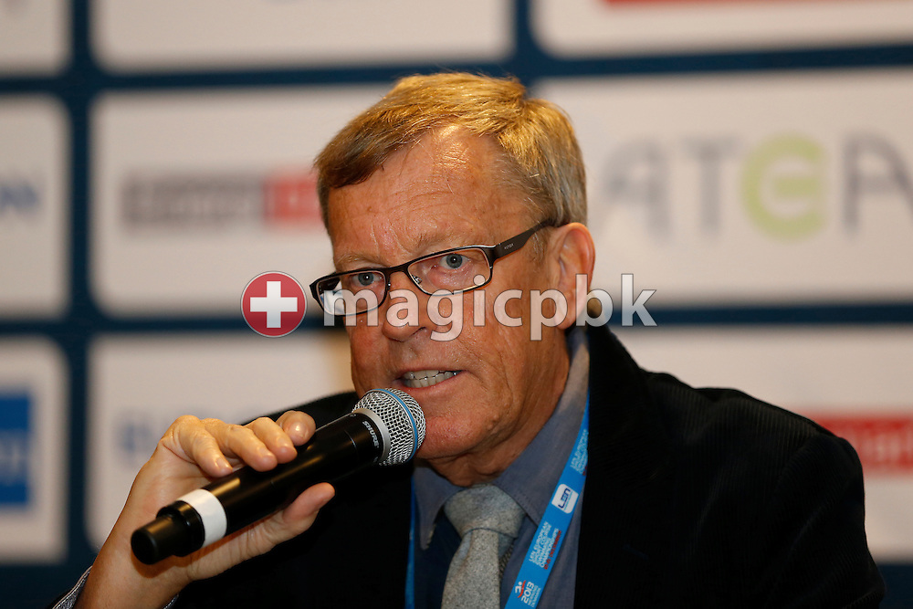 Kjeld Egebo Larsen, President of Danish Swimming Federation, is pictured during a press conference a day prior to the start of the 17th European Short Course Swimming Championships held at the Jyske Bank BOXEN in Herning, Denmark, Wednesday, Dec. 11, 2013. (Photo by Patrick B. Kraemer / MAGICPBK)