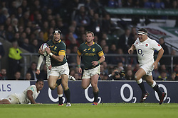 November 12, 2016 - London, England, United Kingdom - Johan Goosen of South Africa runs through to score a try for South Africa late on during Old Mutual Wealth Series between England  and South Africa played at Twickenham Stadium, London, November 12th  2016  (Credit Image: © Kieran Galvin/NurPhoto via ZUMA Press)
