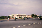 Traffic police and traffic on roads Rail Bhawan government buildings offices, Rajpath area, New Delhi, India 1964