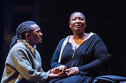 © Licensed to London News Pictures. 17/05/2012. London, UK.  Featuring a magnificent score played by an orchestra of marimbas and steel pans together with the world-class voices and extraordinary acting talent of the Ensemble. Picture shows: Mhlekazi 'Wha Wha' Mosiea and Pauline Malefane in La Bohéme. Photo credit : Tony Nandi/LNP