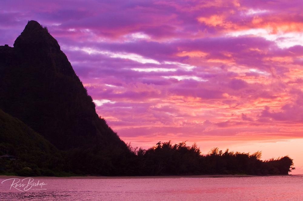Evening light on spires of the Na Pali Coast at sunset, North Shore, Island of Kauai, Hawaii