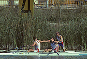 Barcelona, SPAIN. Gold medalist, GBR M2+, Bow Jonny SEARLE and Greg SEARLE with cox, Gary HERBERT. celebrate after winning the final. 1992 Olympic Rowing Regatta Lake Banyoles, Catalonia [Mandatory Credit Peter Spurrier/ Intersport Images] Last time Men's coxed pair raced at the Olympics