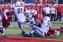 NORMAL, IL - September 04: Jude Okolo  puts Nick Orlando on the turf during a college football game between the Bulldogs of Butler University and the ISU (Illinois State University) Redbirds on September 04 2021 at Hancock Stadium in Normal, IL. (Photo by Alan Look)