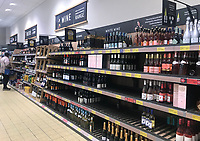 Aldi stratford upon avon starting to sell out of  wine 8am 17th march 2020 photo mark anton smith