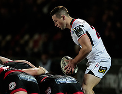 Ulster Rugby's John Cooney puts in at the scrum<br /> <br /> Photographer Simon King/Replay Images<br /> <br /> Guinness Pro14 Round 10 - Dragons v Ulster - Friday 1st December 2017 - Rodney Parade - Newport<br /> <br /> World Copyright © 2017 Replay Images. All rights reserved. info@replayimages.co.uk - www.replayimages.co.uk