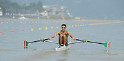 Chungju, South Korea. Sunday Heats, MEX. LM1X. Alan Eber ARMENTA VEGA. Moves away from the start on the opening day of the 2013 FISA World Rowing Championships, Tangeum Lake International Regatta Course. 10:28:07  Sunday  25/08/2013 [Mandatory Credit. Peter Spurrier/Intersport Images]