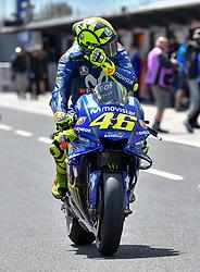 October 26, 2018 - Melbourne, Victoria, Australia - Italian rider Valentino Rossi (#46) of Movistar Yamaha MotoGP exits pit lane during day 2 of the 2018 Australian MotoGP held at Phillip Island, Australia. (Credit Image: © Theo Karanikos/ZUMA Wire)